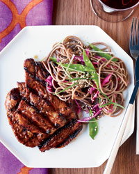 Bill Kim Spicy Korean Chili Marinated Pork w/Soba Noodles. A120306 Food & Wine Grilling Olympics June 2012